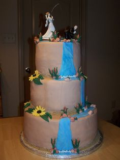 Rustic Fishing/outdoors Themed Wedding Cake The bride and groom both love to fish so they wanted that combined into one cake for the. Fishing Wedding Cakes, Themed Wedding Cakes, Wedding Desserts, Themed Cakes, Beautiful Wedding Cakes, Gorgeous Cakes, Wedding Cake Designs, Wedding Ideas, Desi Wedding