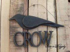 Primitive Crow Hanger Sign-primitive crow, crow hanger