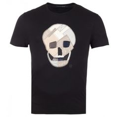 Alexander McQueen Black Cotton Patchwork Skull T-Shirt (147.840 HUF) ❤ liked on Polyvore featuring men's fashion, men's clothing, men's shirts, men's t-shirts, mens short sleeve shirts, mens cotton shirts, mens cotton t shirts, mens skull shirts and mens skull t shirts