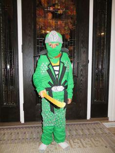 The costume I made Carter for this Halloween. #Ninjago #Lloyd #Green Ninja