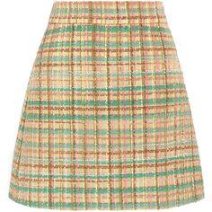 Miu Miu Checked wool-blend tweed mini skirt, Women's, Size: 36 (£505) ❤ liked on Polyvore featuring skirts, mini skirts, bottoms, yellow, beige skirt, a line mini skirt, checkered mini skirt, mini skirt and retro skirts