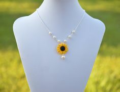 Yellow Sunflower Centered Necklace. Yellow Summer by Diaszabo