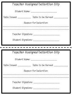 detention notice template - detention slips education ideas pinterest detention