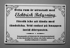 Emaljskylt Belysning:Nacka Byggnadsvård AB