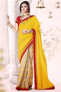 Classy Yellow And Red Color Formal Printed Saree in available pavitraa fashions.