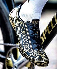 Black And Golden Cycling Shoes