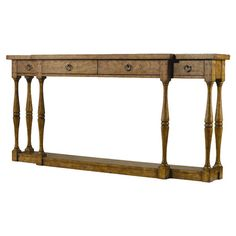 Four-drawer console table with turned legs and a bottom display shelf.        Product: Console table   Construction Materi...