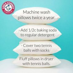 Wash pillows twice yearly and fluff in dryer with 2 tennis balls