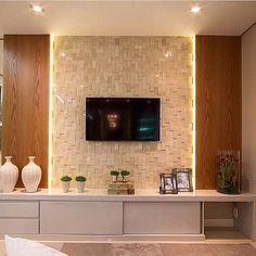 Revestimento 3D e painel de madeira com iluminação embutida ❤️ #arquiteta #architect #arquiteto ...