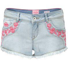 Superdry Folkloric Hotpants ($35) ❤ liked on Polyvore featuring shorts, denim, sale, mini shorts, embroidered shorts, mini short shorts, micro shorts and short shorts