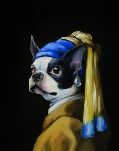 """""""With a Pearl Earring"""" by Paloma Hill Boston Terrier Art, Cute Baby Dogs, Adorable Dogs, Boston Art, Best Dog Breeds, China Art, Animal Sketches, Thing 1, Dog Quotes"""