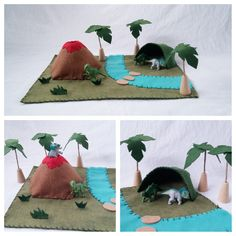 Dinosaur Playscape Play Mat wool felt prehistoric pretend open-ended make believe landscape volcano cave palm trees play set toy imagination by MyBigWorld2015 on Etsy