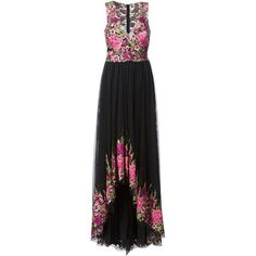 Marchesa Notte floral print gown (€605) ❤ liked on Polyvore featuring marchesa, black and notte by marchesa