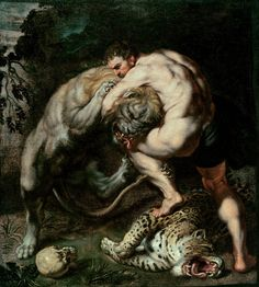 """Hercules Fighting the Nemean Lion, Peter Paul Rubens: Badass work.I only wish he had painted Hercules on the cat's back, sinking in a Rear-naked instead of a Guillotine.a true """"Mata Leao! Peter Paul Rubens, Nemean Lion, Greek And Roman Mythology, Classical Mythology, Baroque Art, Classical Art, Fine Art, Renaissance Art, Rembrandt"""