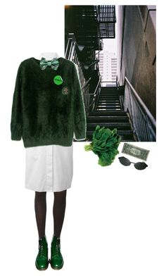 """""""leafy greens"""" by amerisal on Polyvore featuring Pretty Polly, Maison Margiela, Dr. Martens and Persol"""