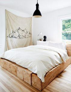 black pendant light minimalist bedroom