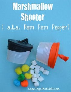 Marshmallow Shooter (or Pom Pom Popper)....inside or outside, my kids would love this!!