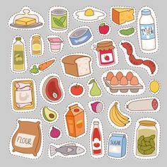 by Vectorssstocker Everyday food icons patchwork. Set of common goods and everyday products we get by shopping in supermarket. Patch food breakfast o Food Stickers, Journal Stickers, Printable Stickers, Cute Stickers, Planner Stickers, Kawaii Drawings, Cute Drawings, Preschool Crafts, Crafts For Kids