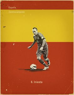 World Cup 2014 - Each Country's Fan Favourite by Jon Rogers, via Behance #soccer #poster #iniesta