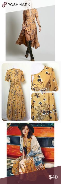 Gorgeous butterfly midi Breezy mustard midi with butterfly print and tie back. Hidden side zip. Keyhole neckline. Flaw in fabric under right waist as shown in last pic - not really noticeable when worn. Fully lined except sleeves. Dresses