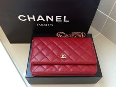 #chanel wallet on a chain in red