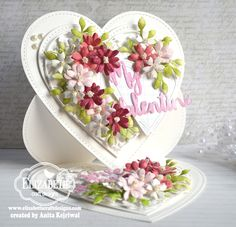 Blossoms in my heart by - Cards and Paper Crafts at Splitcoaststampers Elizabeth Craft Designs, Side Step Card, Shabby Chic Cards, Step Cards, Fancy Fold Cards, Easel Cards, Beautiful Handmade Cards, Flower Cards, Paper Flowers