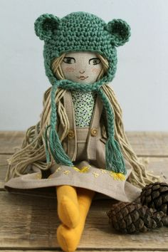 Fabric doll. Embroidery. Crochet bonnet. Linen and cotton. Natural dyed dress.