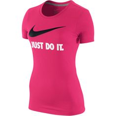 Nike Just Do It Swoosh Women's T-Shirt - Light Voltage Cherry, L ($20) ❤ liked on Polyvore