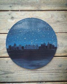 Painting on old vinyl record. Follow on Instagram @dollarbindimes #records #vinyl #skyline #acrylic #painting #diy #art