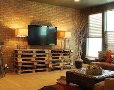 sala de estar upycicling pallete - decoração rústica pallete tijolo a vista