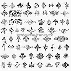 Collection of ornamental design elements