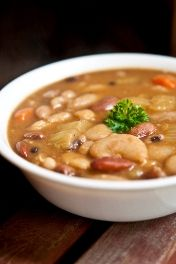 15 Bean Soup is an excellent source of protein. A delicious recipe from Skinny Ms. Superfoods Cookbook. #protein #beans #soup
