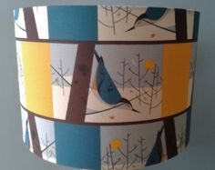 Charley Harper Blue Bird Fabric covered Lampshade. For custom orders such as this, contact local artist Brenda Brown @ Annex of paredown in Ann Arbor, Michigan