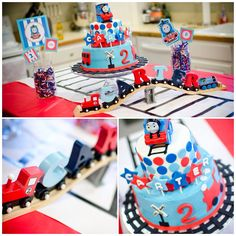 Thomas the Train birthday party-Thomas cake, tablecloth with tracks down center, handmade personalized wooden name train. Mason jars as centerpieces.