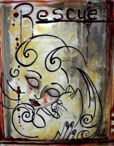 Adoption CAT LADY Kitty Original Painting BIG COLORFUL Modern Folk Art Loralai