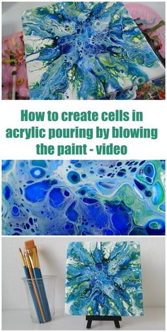 Video shows how you can create cells in acrylic pouring and painting by blowing . - Video shows how you can create cells in acrylic pouring and painting by blowing the paint. Pour Painting Techniques, Art Techniques, Flow Painting, Painting Hacks, Textured Painting, Knife Painting, Matte Painting, Diy Painting, Acrylic Pouring Art