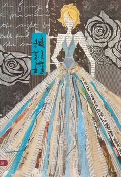 collage couture - collage of woman in dress with long full skirt made of colorful strips