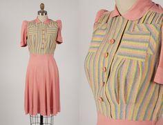 1940s dress/ 40s pink rayon dress/ rayon knit