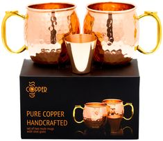 Copper Gloss - Set of 2 Moscow Mule Copper Mugs with Shot Glass - Two 16 Oz Hammered Moscow Mule Mug for Cold Drinks - Engraved Solid Copper Mugs with BONUS eBooks