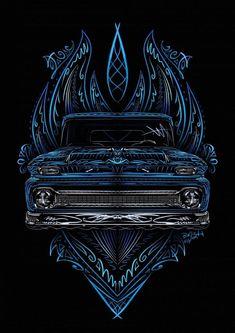 /\Friday Art Show Classic Chevy Trucks, Classic Cars, Arte Lowrider, Cool Car Drawings, Rockabilly Art, Pinstripe Art, Pinstriping Designs, Muster Tattoos, Truck Art