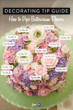 Learn how to make this beautiful blooming flowers cake that is perfect for celebrations and occasions like Mother's Day, anniversaries and bridal showers. Use this tip guide to know what decorating tip to use to create lovely buttercream flowers. Frosting Techniques, Frosting Tips, Frosting Recipes, Cupcake Recipes, Cake Icing, Eat Cake, Cupcake Cakes, Fondant Cakes, Wilton Cakes