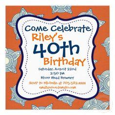Blue Orange Pattern 40th Birthday Party Invitation