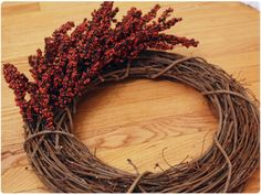 DIY autumn wreath  Use lavender?!?