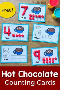 FREE printable Winter themed counting cards featuring hot chocolate and marshmallows, perfect for a Winter math activity in preschool! Get preschoolers to practice counting, ten frames and number recognition with this fun playdough activity! Printable Math Games, Kindergarten Math Games, Free Printable, Math Math, Math Worksheets, Fun Math, Numbers Preschool, Preschool Crafts, Preschool Winter