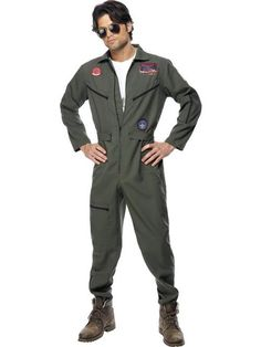 b34a97902644 Our Adult Official Men s Top Gun Pilot Costume comes complete with the All  in One Khaki Green Jumpsuit with Name Badges ...