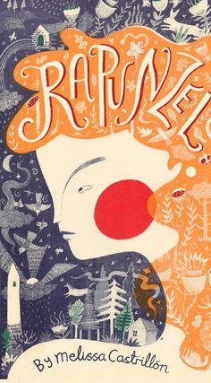 Rapunzel Book Art by Melissa Castrillon Book Cover Art, Book Cover Design, Book Design, Book Art, Rapunzel Book, Beautiful Book Covers, Children's Book Illustration, Art Design, Lettering