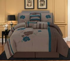 """11 Piece Queen Jada Floral Embroidered Bed in a Bag Set by KingLinen. $99.99. This elegant comforter set features floral embroidery with pleated details on taupe ground. 3 unique decorative pillows furtherenhance the look .FeaturesColor: Blue/TaupeSize: QueenMachine Washable Matching curtains availableThis set includes:1 Comforter (90""""x92"""")2 Shams (20""""x26""""+3"""")1 Bed Ruffle (60""""x80""""+15"""")1 Neckroll (7""""x17"""")1 Breakfast Cushion(16""""x12"""")1 Square Cushion(..."""