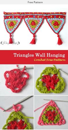 crochet diy This Triangles Wall Hanging Crochet Free Pattern is a decorative and festive wall hanging that's perfect for parties and gatherings. Make one now with the free pattern provided Crochet Bunting Pattern, Crochet Garland, Crochet Curtains, Crochet Motifs, Granny Square Crochet Pattern, Crochet Squares, Crochet Patterns, Macrame Patterns, Knitting Patterns