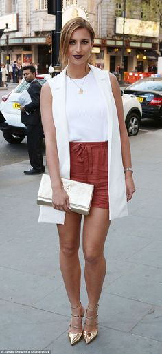Going for gold: TOWIE's Ferne McCann donned a fashionable ensemble to attend the Notion ma...