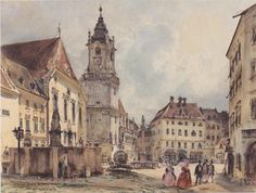 The Main Square in Bratislava by Rudolf von Alt, 1843 Bratislava, Rudolf Von Alt, A4 Poster, Poster Prints, Northern Italy, Vintage Artwork, The World's Greatest, Old Pictures, Italy Travel
